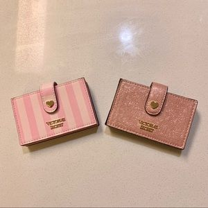 2 Pink Stripe Rose Gold Accordion Card Cases